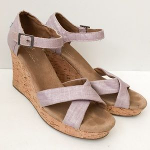Toms strappy cork wedge purple